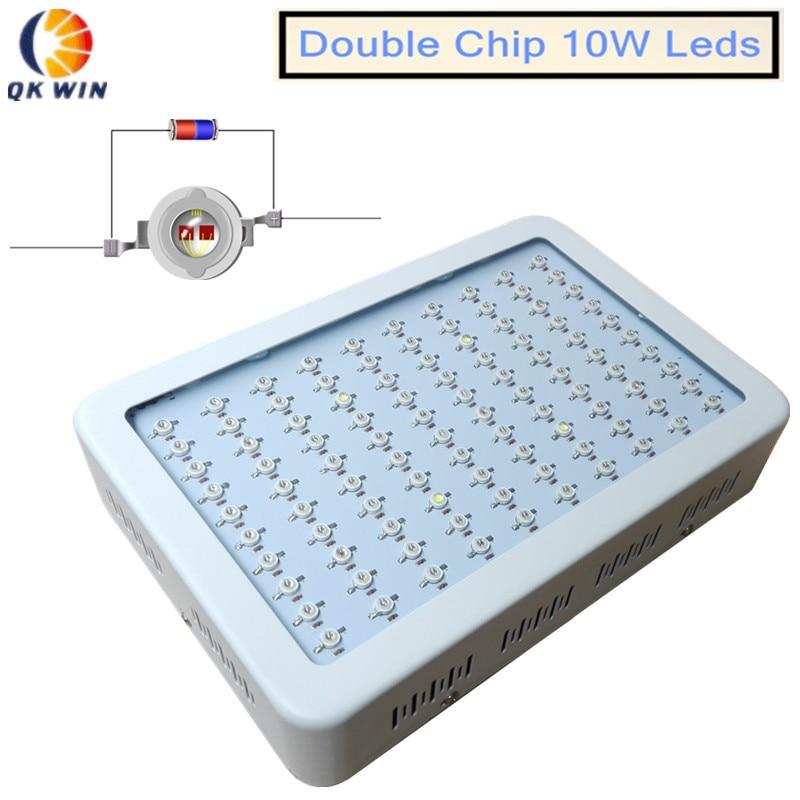 Франция склад Dropshipping qkwin 600 Вт/1000 Вт растет свет с двойной чип 10 Вт полный спектр привело светать