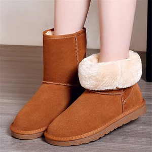 Image 4 - JIANBUDAN Cowhide Leather Warm Snow Boots Womens Winter Waterproof Cotton Boots Women plush snow shoes Fashion boots New 35 40