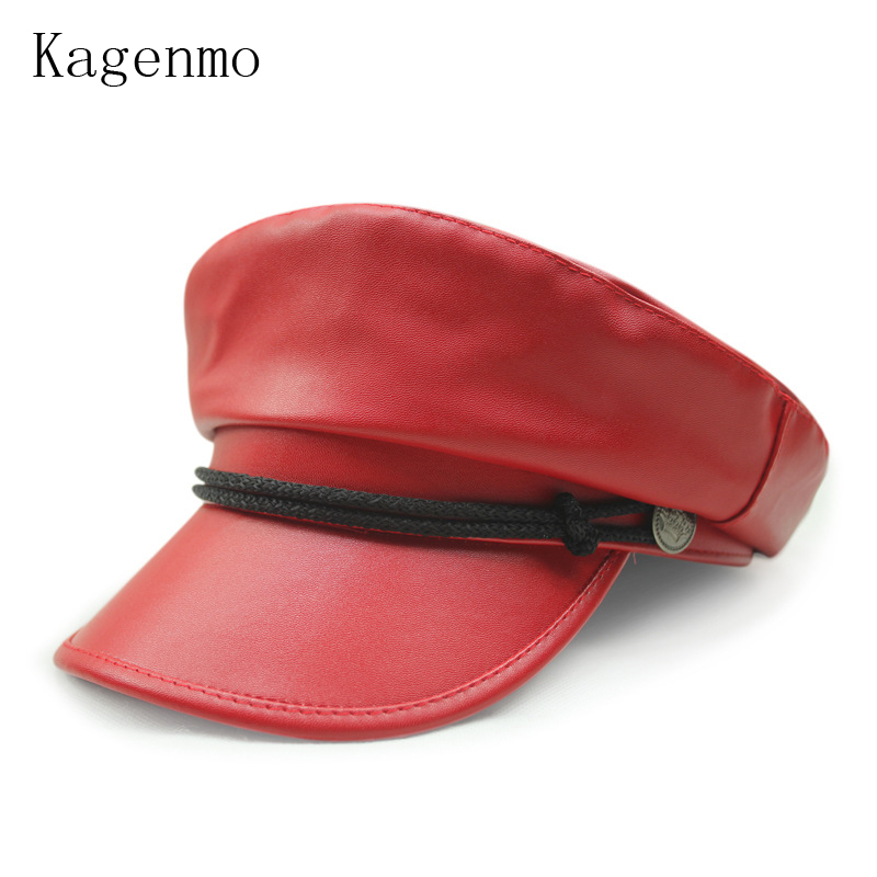 Kagenmo Military Hats leather woolen for autumn and winter male wool army cap female winter warm hat pu leather winter hat
