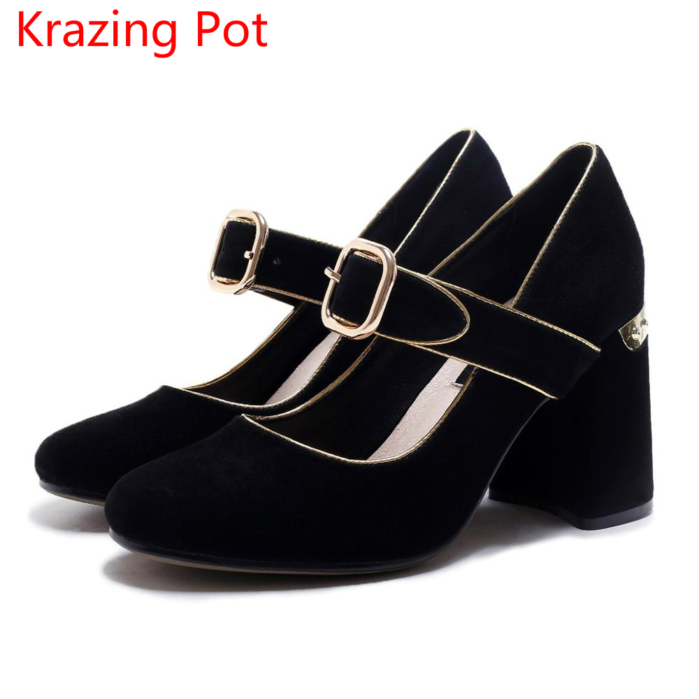 Fashion Sheep Suede Brand Shoes High Heels Women Pumps Round Toe Runway Mary Janes Ankle Buckle Straps Autumn Party Shoes L74 fashion slip on brand shoes crystal buckle high heels casual round toe women pumps embroidery party sandals chinese style l29