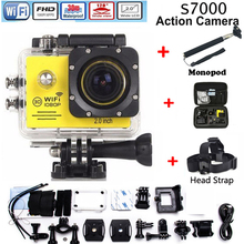 Action Camera wifi for go pro hero 4 Extreme Sports Video 1080P HD 30m Waterproof sports camrea Extra head strap+bag+Monopod