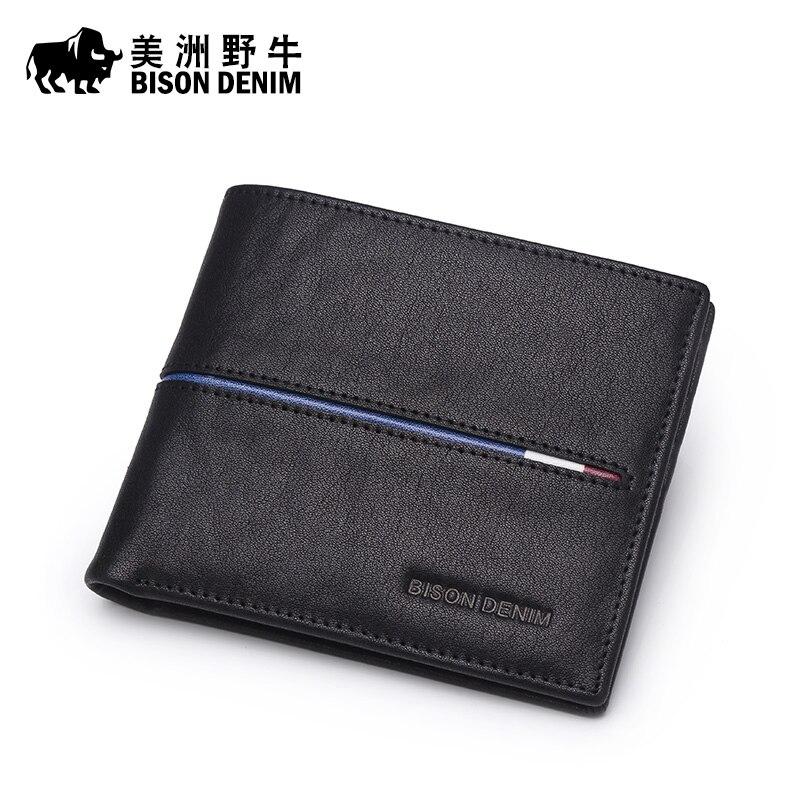 BISON DENIM marque hommes portefeuille en cuir véritable porte-carte de crédit en cuir de vachette sac à main carte de crédit portefeuille hommes Long portefeuille livraison gratuite