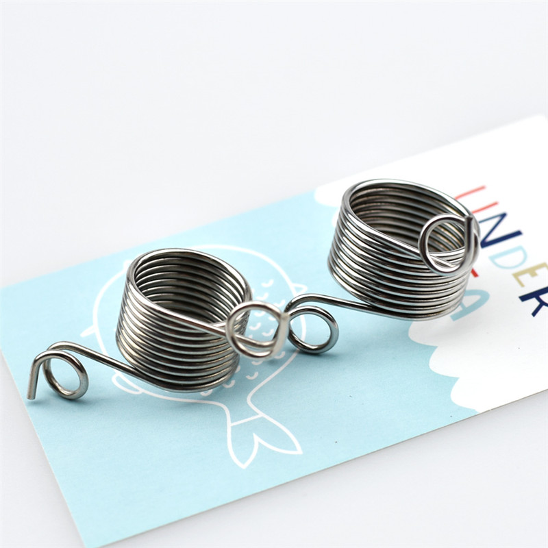 2Size 17 19mm Yarn Spring Guides Stainless Steel Needle Thimble Ring Type Knitting Tools Finger Wear Thimble Sewing Accessories in Sewing Tools Accessory from Home Garden