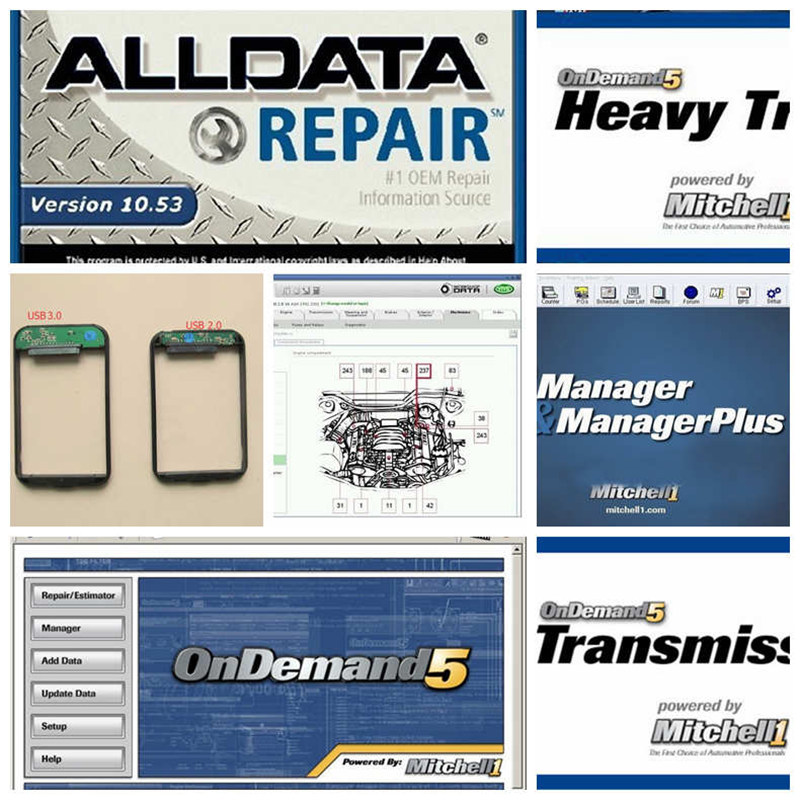 2017 alldata 10.53 mitchell on demand 2015 1tb hdd with usb 3.0 total 47 softwares elsa, vivid workshop, manager plus etc.
