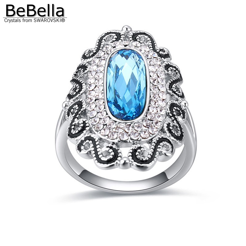 BeBella romantic geometric shape crystal party finger ring for woman made with Swarovski Elements 5 colors