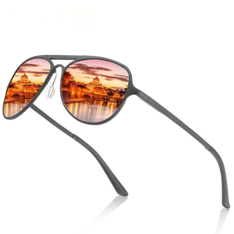 Ellen Buty Brand Design Sunglasses Men Polarized Oval Aluminium Magnesium Male Sun Glasses Retro Orange Gradient