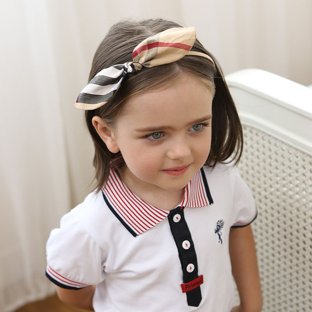 Classical Plaid Headband Bunny Hairband Alice Hair Band Girl Kids  Accessories Head Bands Girls Headwear Handmade 3a642891d53