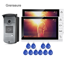 Cheapest prices FREE SHIPPING 9″ Color Screen Video Door Phone Intercom System 2 White Monitors + Waterproof RFID Doorbell Camera Night Vision