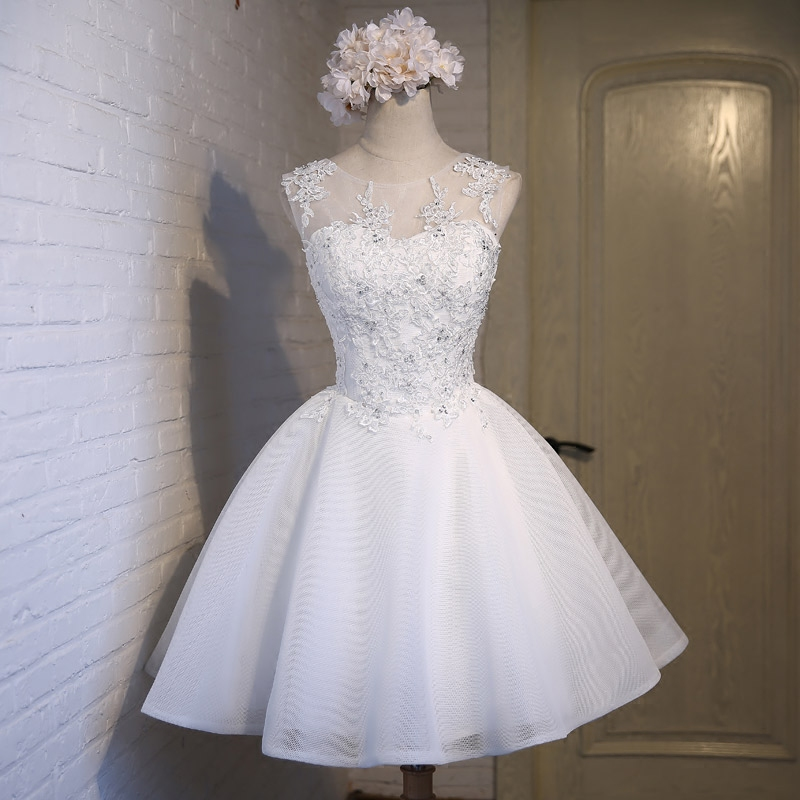 Real Photos Ivory Tulle Prom Dresses 2019 Scoop Appliques Lace Up Knee Length Prom Dress Short Evening Party Gowns in Prom Dresses from Weddings Events