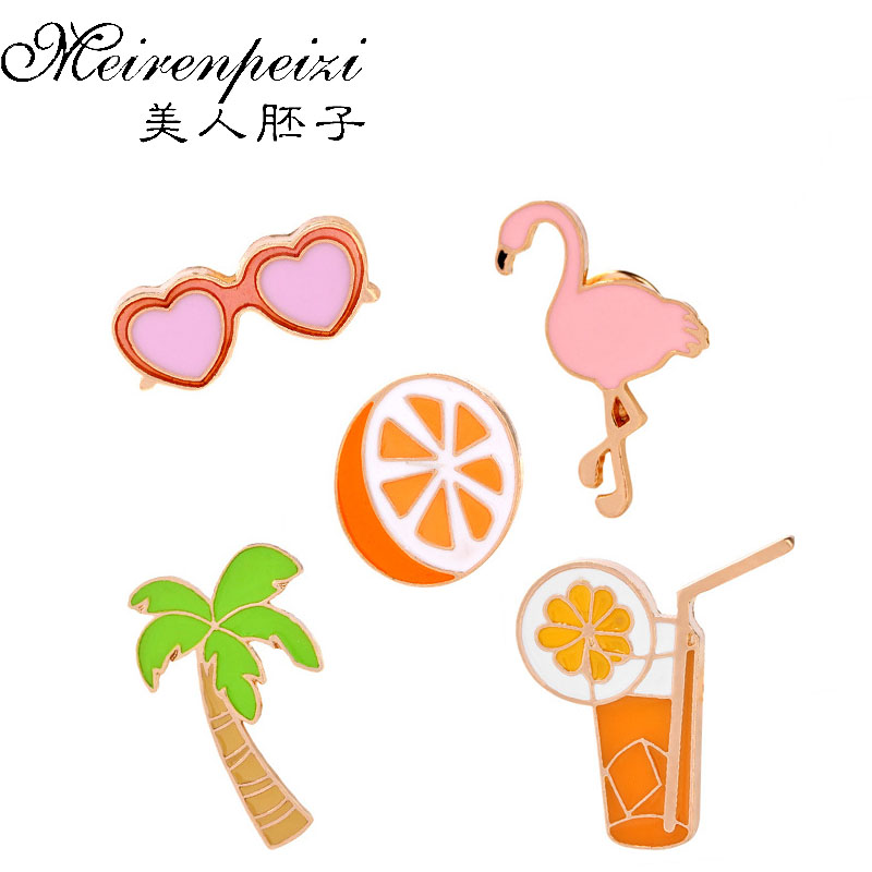 Fashion Jewelry K-POP Badge Accessories For Clothes Hat Scarf Orange Juice Coconut Tree Crane Animal Brooches For Women Pins