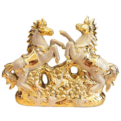 Europejski styl złoty ceramiczne konia wyposażenie domu dekoracja salonu nowoczesne restauracja hotel biuro prezent ślubny