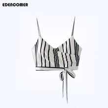 EDENCOMER Summer New Womens Clothing Fashion Stripe Bandage Short Crop Camisole Strapless Tube Top with Falsies Female Tanks