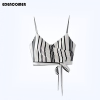 EDENCOMER Summer New Women S Clothing Fashion Stripe Bandage Short Crop Camisole Strapless Tube Top With