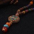 Fugir da moda étnica colar de esmalte, árvore da vida da placa do vintage Nepal jóias, handmade sanwood contas de colar de ágata do vintage