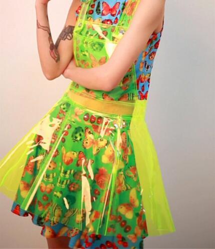 Femmes Cosplay robe sans manches voir à travers une forme fétiche PVC clair robe imperméable modèle spectacle Sexy Costumes holographique robe