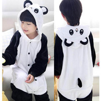 Children Kigurumi Panda Pajamas Flannel Pokemon Pikachu Dinosaur Cosplay Onesie Kids Girls Boys One Piece Sleepwear