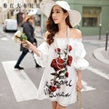 dabuwawa spring 2016 new rose floral open shoulder slim dress women pink doll