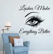 Lashes Make Everything Better Quotes Eyelashes Art Wall Sticker Eyebrows Vinyl Decal Makeup Decor Lash Window Mural F898