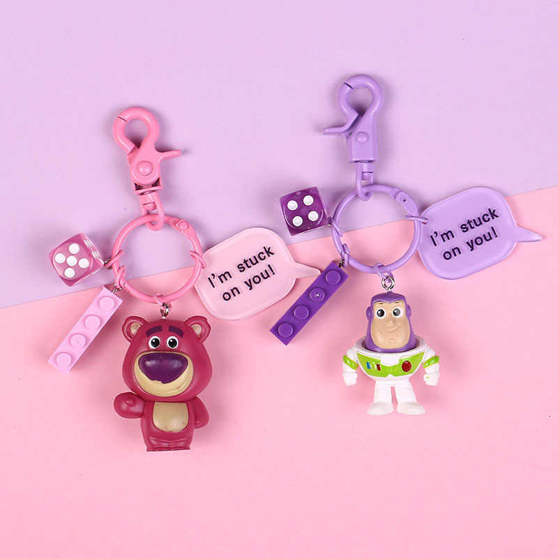 Toy Story Strawberry Bear Woody Buzz Lightyear Keyring Cute Alien Action Figure Dolls Keychain Keyring Pendant Cake Decoration