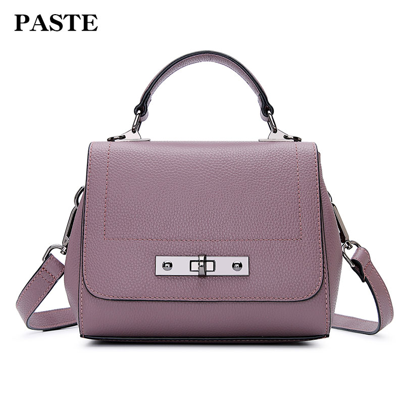 Paste Women Crossbody Bags Genuine Leather Shoulder Bags Handbags 2018 Solid Soft Small Flap New Lady Vintage Messenger Bag 2009 new women genuine leather handbags shoulder messenger bag fashion flap bags women first layer of leather crossbody bags