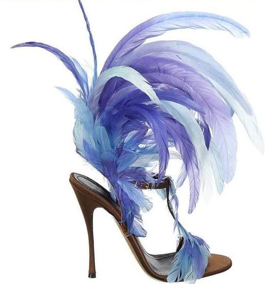 Summer New Fashion Blue/Purple Feather Straps Women Open Toe Sandals Sexy T-Strap Ankle Buckle Ladies High Heels Plus Size 43 summer new fashion blue purple feather straps women open toe sandals sexy t strap ankle buckle ladies high heels size42