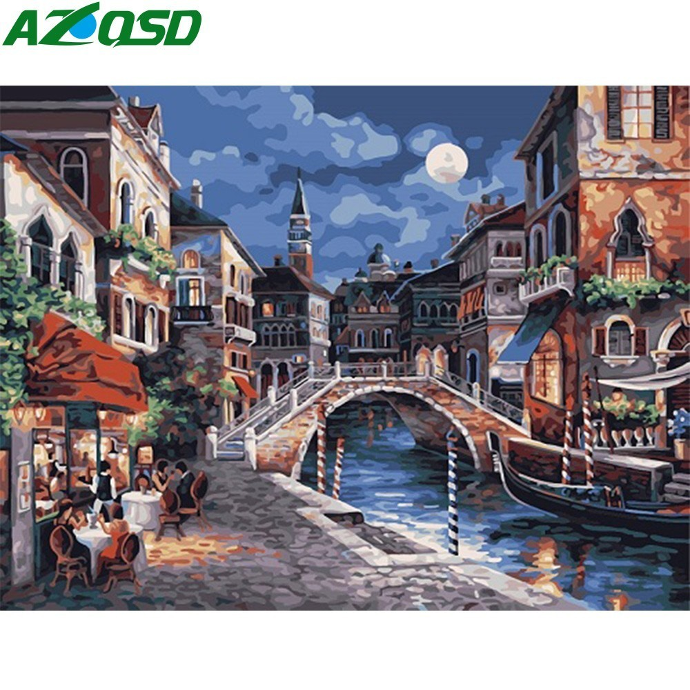 AZQSD Ancient City Night Painting By Numbers On Canvas 40x50cm Frameless Oil Painting Picture By Numbers Home Decor Szyh6029