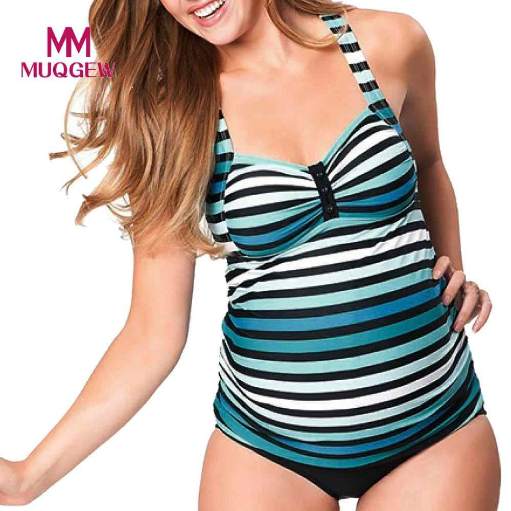 b13e1edeba4a6 MUQGEW Maternity Tankinis Stripeed Print Bikinis Pregnant High Waist Bikini  Sexy Women Swimsuit Swimwear Brazilian Bikini