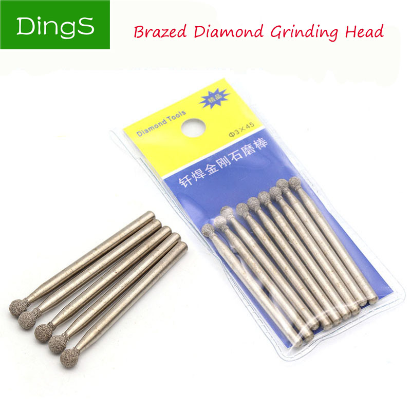5pcs /Set 3mm Diamond Burs Dremel Rotary Tool Spherical Shape Abrasive Grinding Head Dremel Accessories Dremel Diamond Bits