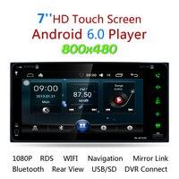 2 Din Android6.0 Voiture Radio Stéréo 7 pouce Tactile Écran Voiture Lecteur DVD GPS de Navigation Bluetooth Wifi USB SD Commande Au Volant