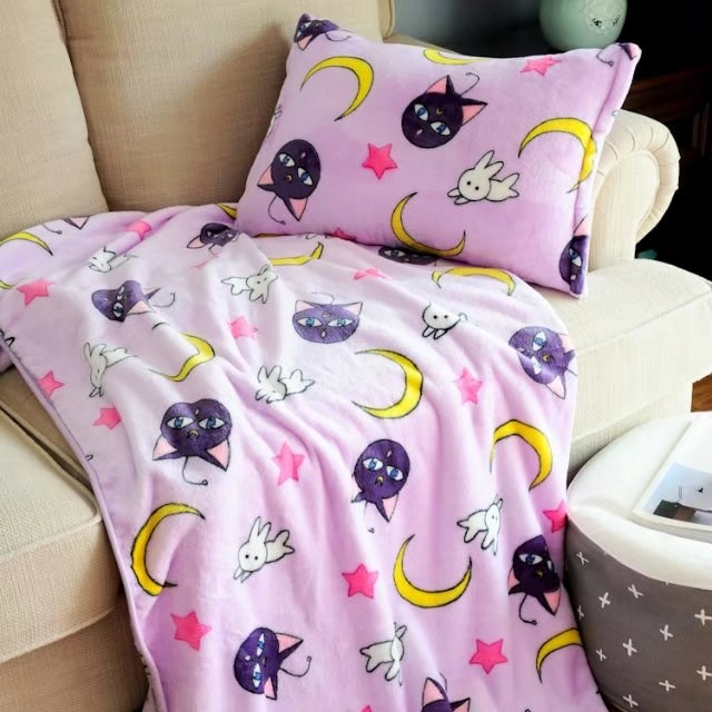 Candice guo plush toy Sailor Moon luna cat soft air condition bed blanket pillowcase rest sleeping birthday Christmas gift 1pc