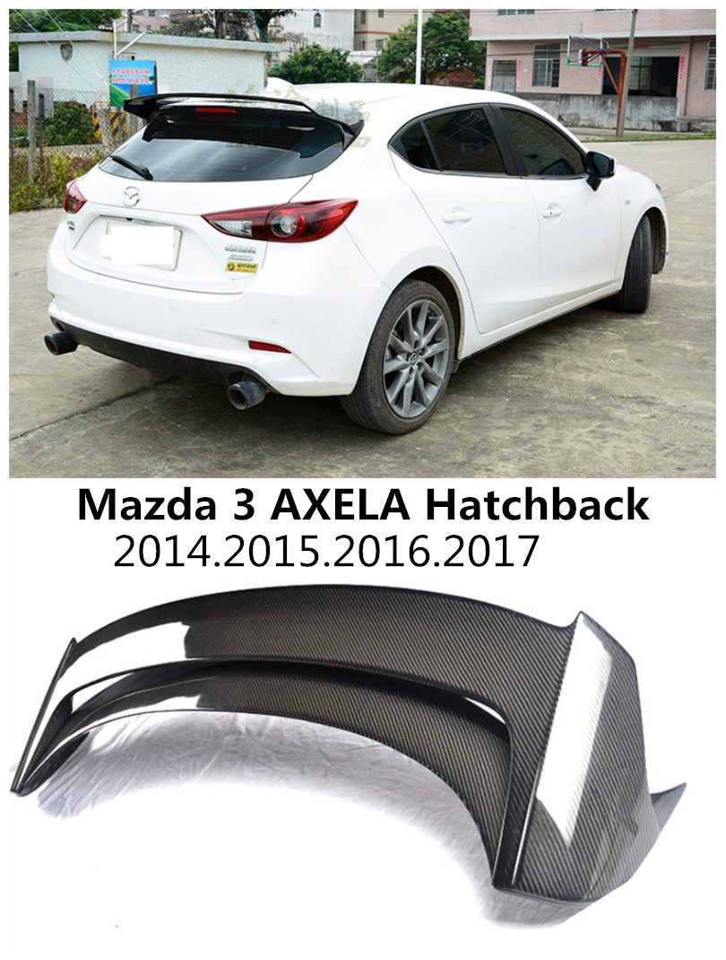 HLONGQT Carbon fiber /ABS Resin Spoiler For Mazda 3 AXELA Hatchback 2014-2017 High quality Rear Wing Spoilers Auto Accessories for mazda 3 axela hatchback sedan 2014 2015 2016 abs high quality air conditioning ac control switch cd panel cover trim 1 pcs