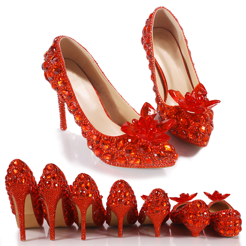 Crystal-Shoes Wedding-Shoes Bride Banquet Pumps Diamond Pointed-Toe Red-Color Princess
