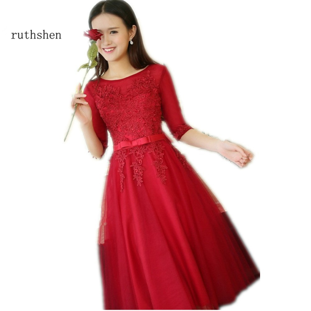 ruthshen Burgundy Red Short Prom Dresses 2018 Cheap Half Sleeve Lace Appliques Knee Length Cocktail Party
