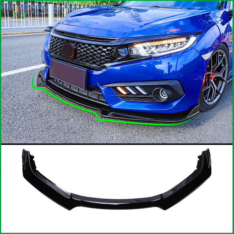 Car Styling For Honda Civic 10th 2016 2017 Front Bumper Lower Grille Protector Plate Lip Cover