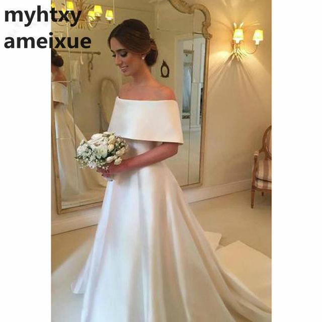 Princess 2018 A-line Off Shoulder Red Wedding Dress Robe De Mariage Short  Sleeve Satin Vestido De Noiva Backless Bridal Gown 26359d18c0fe