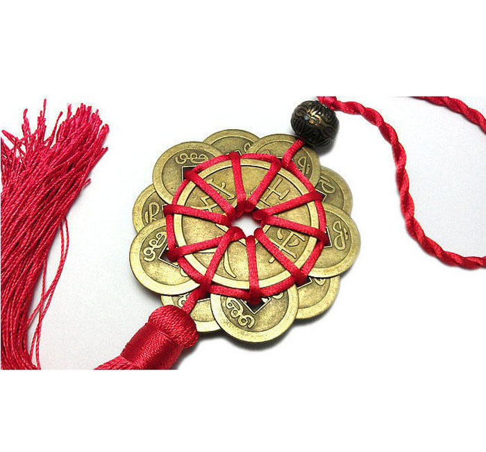 Hot Red Chinese Knot Lucky Charm Ancient Chinese Coins Prosperity