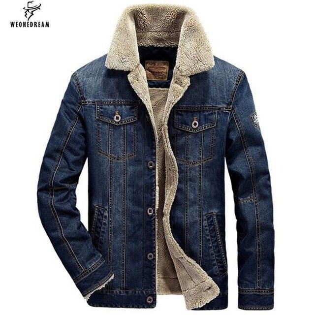 085e60045ccff WEONEDREAM sonbahar kış erkek ceket ve mont Moda erkek kot ceket marka  denim kalın sıcak dış