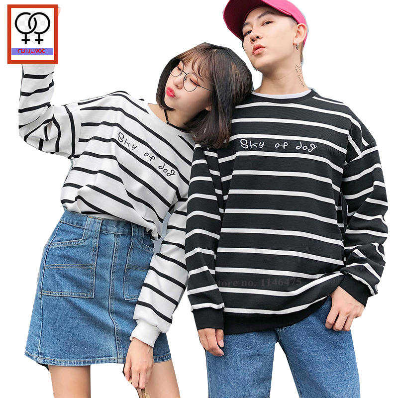 b0e20b78ed Detail Feedback Questions about Matching Couple Hoodies Sweatshirts Him Her  Black White Striped Tops O Neck Cute Girls Boy Preppy Couple Lovers Hoodies  772 ...