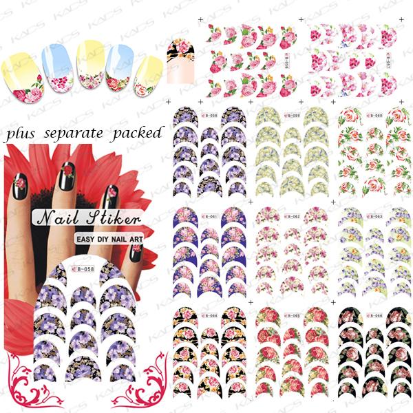 2015 NUEVO 50 Unids/lote B056-066 CALIENTE Pegatinas de Uñas de Arte De Uñas Calcomanías Modelos Preferidos Sobre Las Flores de Transferencia de Agua