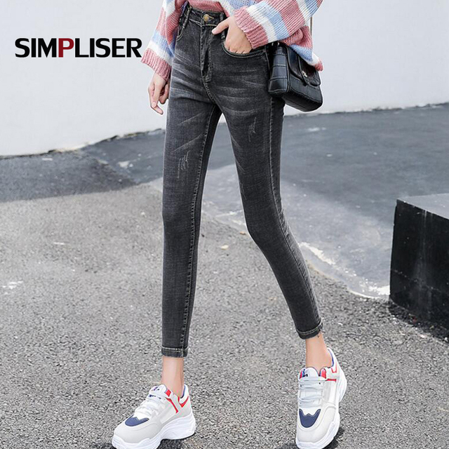 Ankle Length Women Denim Blue Black Jeans Pencil Pants Plus Size Female  Skinny Jeans Leggings Femme Pantalon Slim Trousers 29c50bfc0288