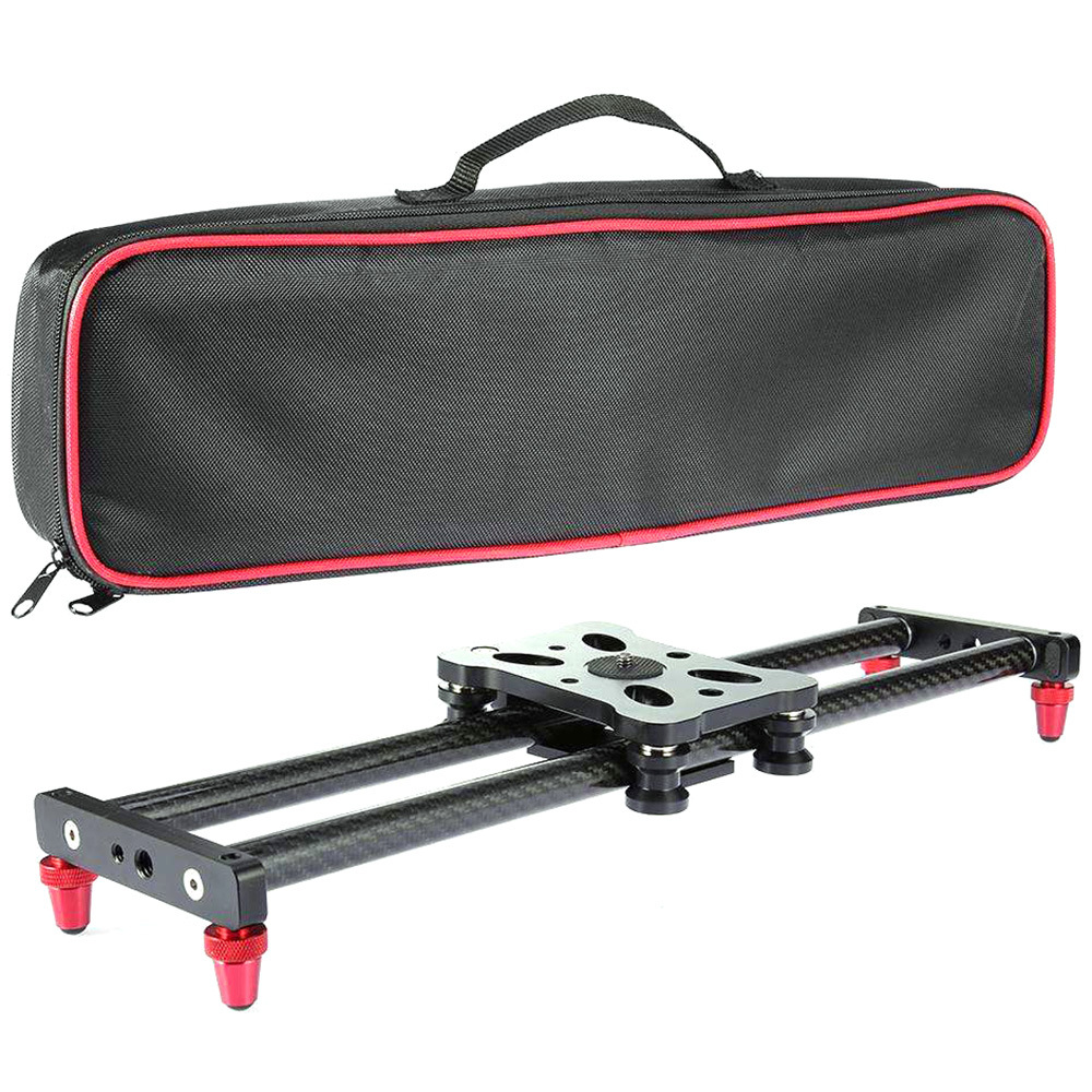 40CM Adjustable Carbon Fiber Camera Slider Shooting Stabilizer Rail for Canon DSLR Camera Video Photography Dolly Track Slider