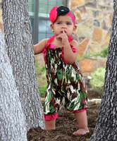 Infant Rompers Newborn Baby Bubble Knicker In Camo And Hot Pink Strips Baby Clothing