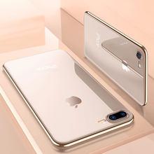 dbe70617ac6 Ascromy para iPhone 7 funda silicona suave chapado oro parachoques funda  para iPhone 8 Plus X 6 6 S 5 5S SE accesorios transpare.