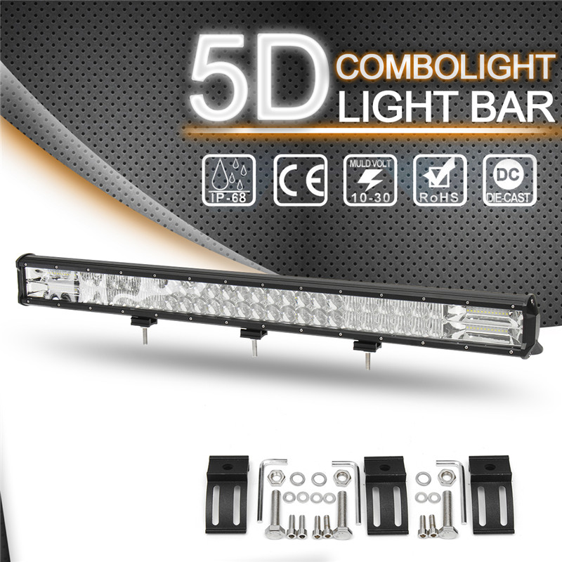 5D 32inch LED Light Bar 800W Car Dome Work Light Bar for Offroad Truck 10V - 30V 96LEDS Combo Beam Lamp Bar Wire Kit free dhl ups fedex ship 13 5 72w 2700lm 10 30v 6500k led working bar curved option wire of harness led bar light