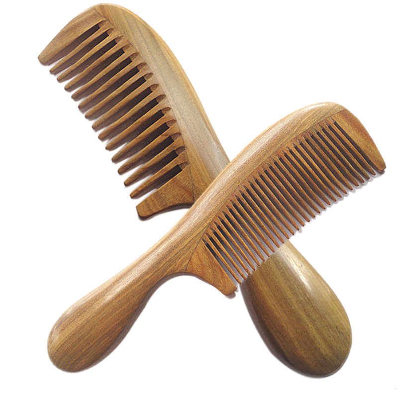 New Handicraft Wooden Round Handle Sandal Hair Combs Natural Sandalwood Fine Comb Anti-Static Care SK88 green sandalwood combed wooden head neck mammary gland meridian lymphatic massage comb wide teeth comb