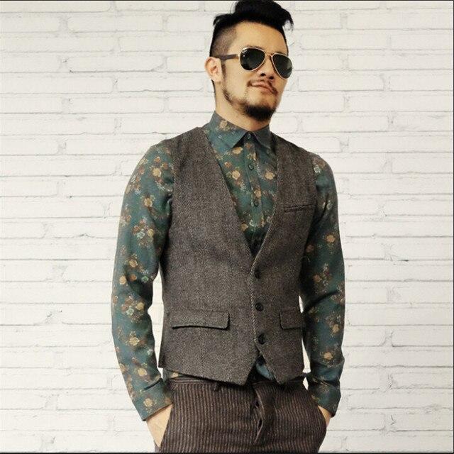 Men Autumn And Winter Vest England Style Vintage Brand Clothing Men Blazer Suit Vests V-Neck Woolen Male Vest A2812