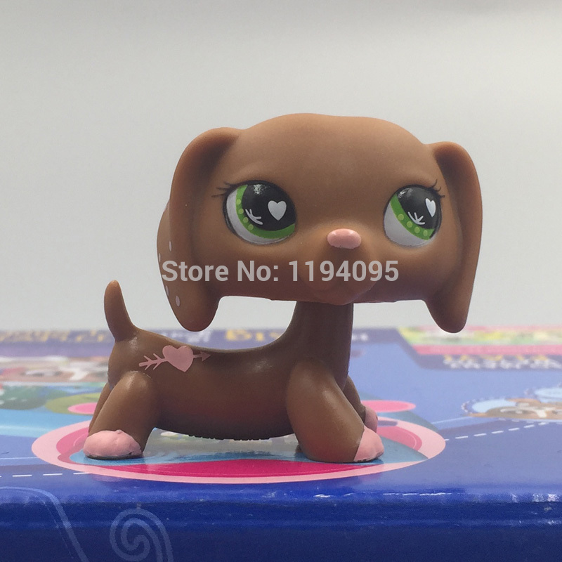 pet shop lps toys toys Dachshund Dog #556 Lovely Brown & Pink Valentine Green Heart Eyes Puppy Figure