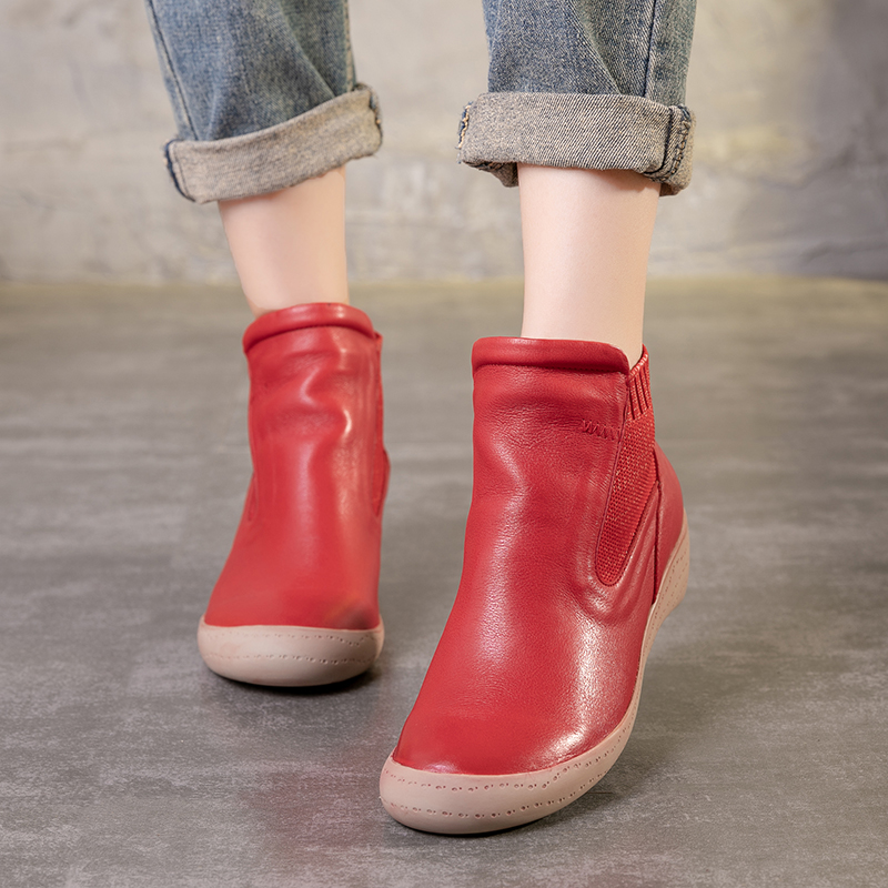 Ankle Lady Booties Fashion Women s Natural Cow Leather Boots Hand painted New Arrival Chunky Low
