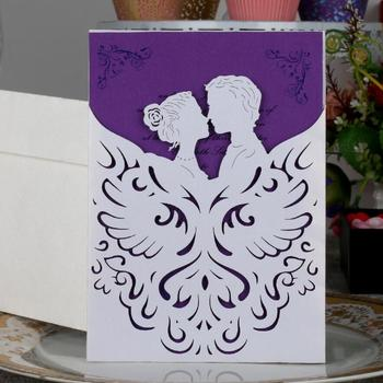 100pcs Laser Cut Hollow Lover Invitations Card For Wedding Party Invitation Cards with Envelope & Seal