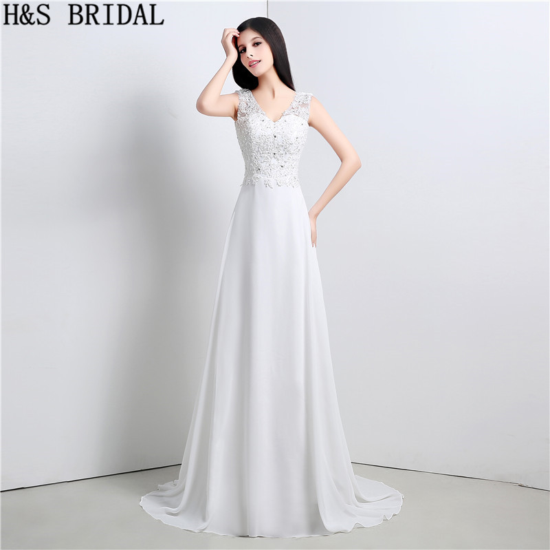 V Neck A-Line Wedding Dresses Lace Beaded wedding gowns Cheap Brides Dress Long Bridal Gowns vestido de noiva boho wedding dress